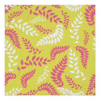 Pink and White Ferns Foliage on Green Poster