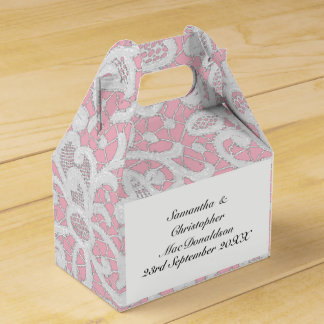 Pink and white filigree lace wedding favour box