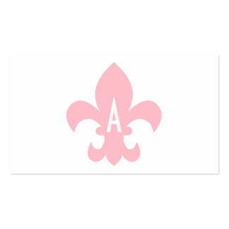 Pink and White Fleur de Lis Monogram Pack Of Standard Business Cards