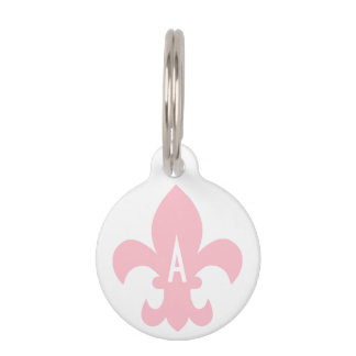 Pink and White Fleur de Lis Monogram Pet ID Tag