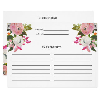 Pink and White Floral Blooms Recipe Card