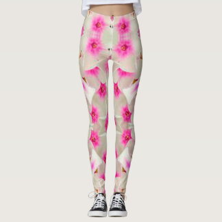 Pink and White Floral Leggings with a 3-d Look