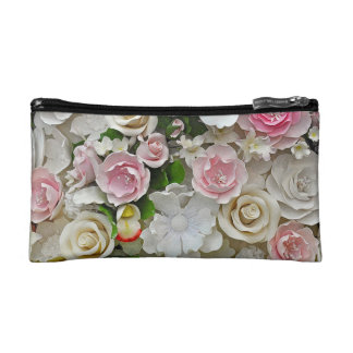 Pink and white floral pattern cosmetic bag