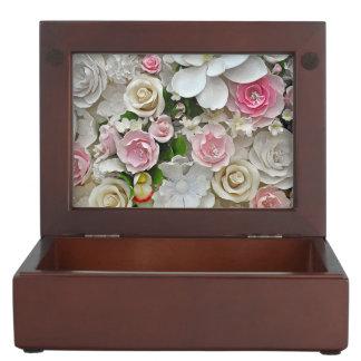 Pink and white floral print keepsake box