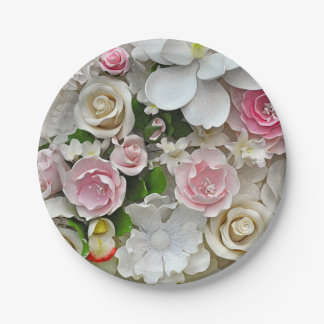 Pink and white floral print paper plate