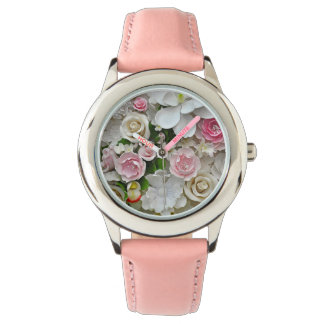 Pink and white floral print watch