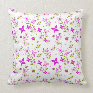 Pink and White Floral Throw Pillow