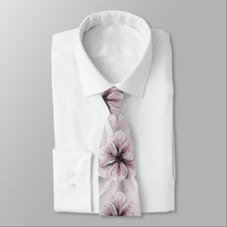 Pink and White Floral Tie