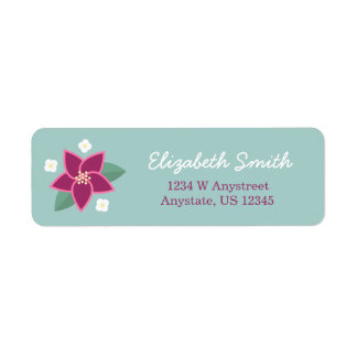 Pink and White Flower Handwritten Address Label