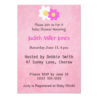 Pink and White Flower Invitation. 13 Cm X 18 Cm Invitation Card