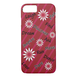 Pink and white flower motivational cell phone case