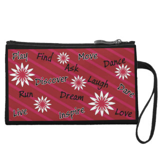 Pink and white flower motivational clutch wristlets