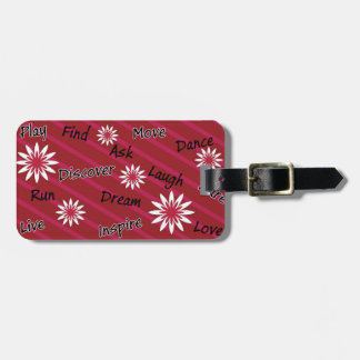 Pink and white flower motivational luggage tag