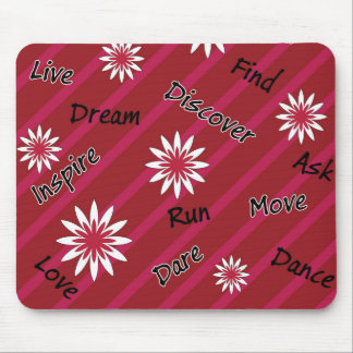 Pink and white flower motivational mousepad