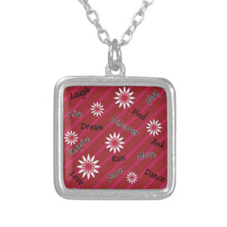 Pink and white flower motivational necklace