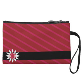 Pink and white flower stripes clutch wristlet purse
