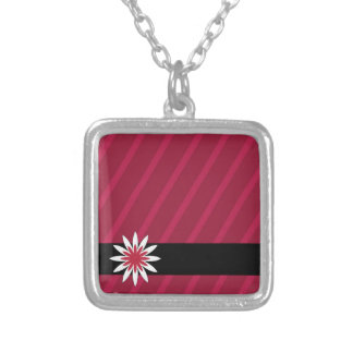 Pink and white flower stripes necklace