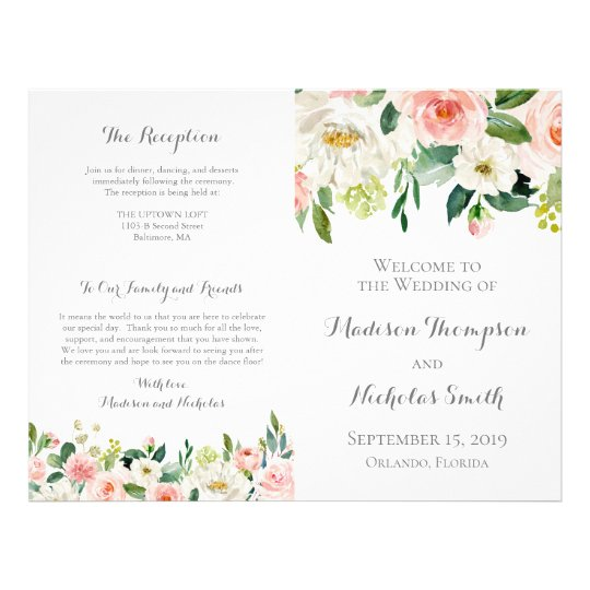 Pink and White Flower Wedding Program Booklets Flyer