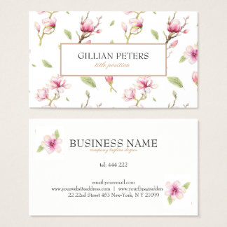 Pink And White Flowers Business Card