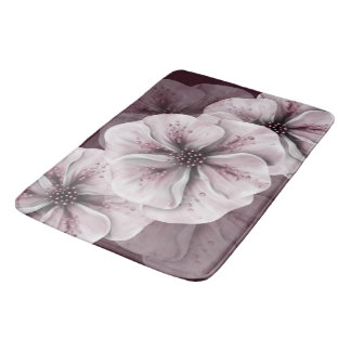 Pink and White Flowers on Burgundy Bath Mat