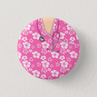 Pink And White Flowers Turtles Medical Scrubs 3 Cm Round Badge