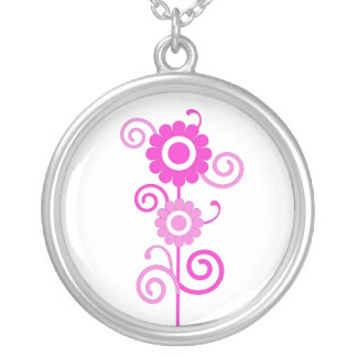 Pink and white flowers with swirls necklace