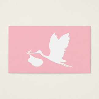 Pink and White Flying Stork Business Card