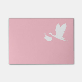 Pink and White Flying Stork Post-it® Notes