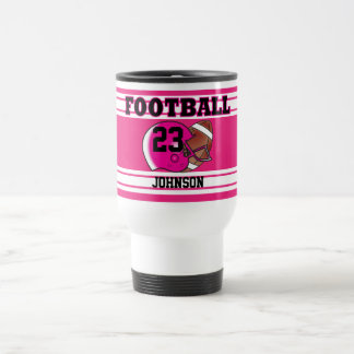 Pink and White Football Stainless Steel Travel Mug
