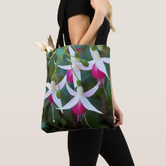Pink and White Fuchsias Floral Tote Bag