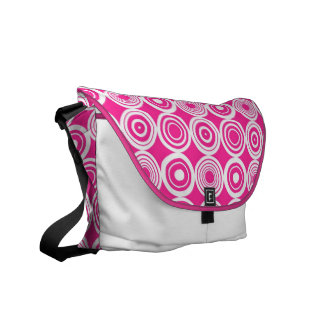 Pink and white Geometric Circles Messenger Bags