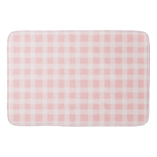 Pink and White Gingham Bath Mat