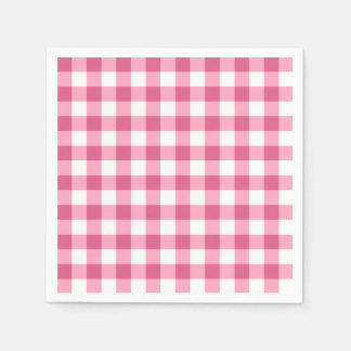 Pink And White Gingham Check Pattern Disposable Serviettes