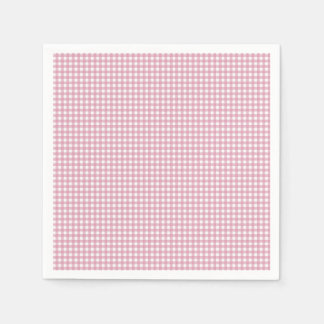 Pink and White Gingham Disposable Serviette