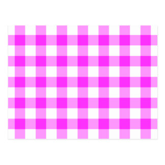 Pink and White Gingham Pattern Postcard