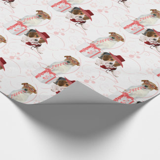 Pink and White Girly Theme High Fashioned Dogs Wrapping Paper