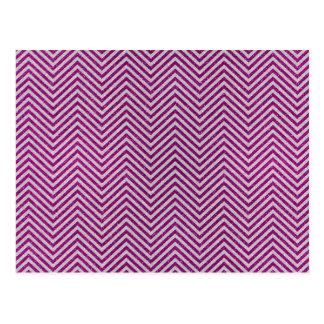Pink and White Glitter Zig Zag Postcard