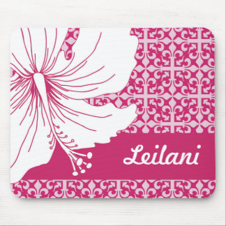 Pink and White Hawaiian Hibiscus Graphic Flower Mouse Pad