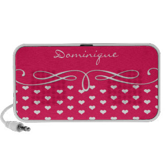 Pink and White Heart Scroll iPhone Speaker