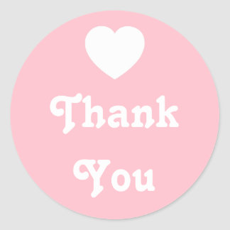 Pink and White Heart Thank You Round Sticker