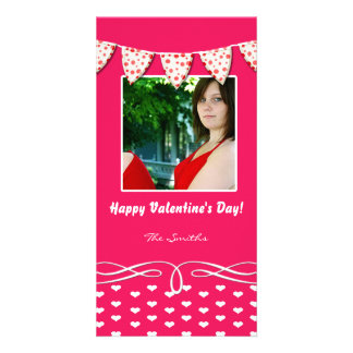 Pink and White Heart Valentine Photo Card