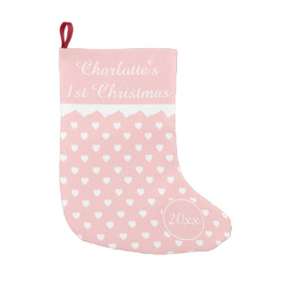Pink and White Hearts 1st Christmas Personalized