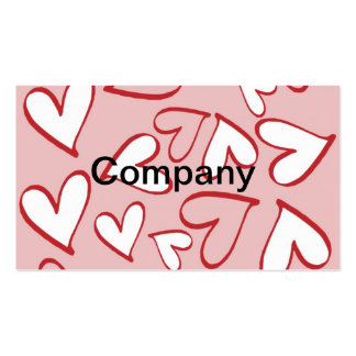 Pink and White Hearts Business Card