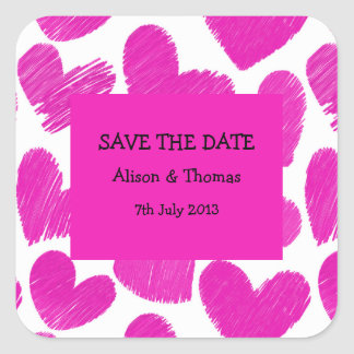 Pink and white hearts 'Save the date' Sticker