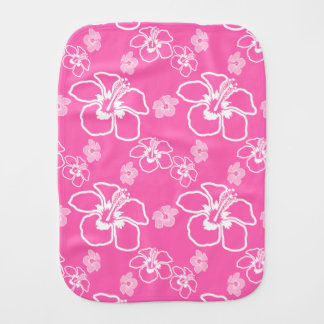 Pink And White Hibiscus Hawaiian Pattern Burp Cloth