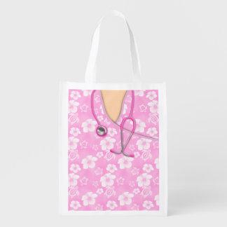 Pink And White Hibiscus Island Medical Scrubs