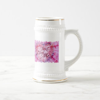 Pink and White Jesus Loves Me Super Stein