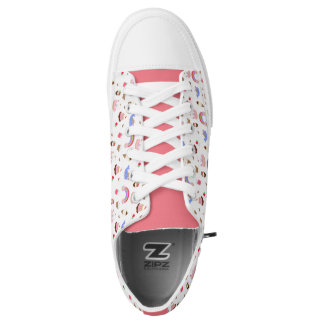 Pink and White Kawaii Print Low Top Canvas Shoes