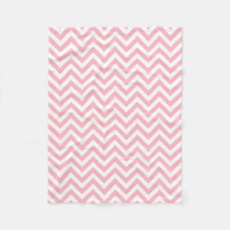 Pink and White Large Chevron ZigZag Pattern Fleece Blanket