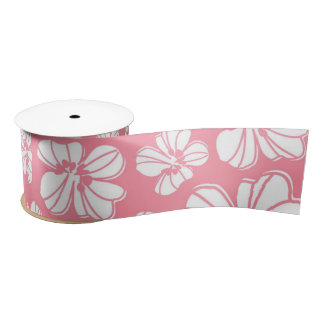 Pink and White Large Hawaiian Floral Ribbon Satin Ribbon